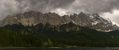 Mt Zugspitze seen from The Eibsee lake